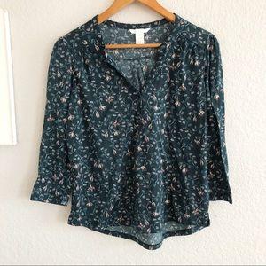 🔴 H&M Green Floral Split Neck Popover Shirt